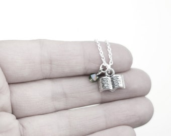 Book Necklace- Custom Birthstone- Silver Charm Jewelry- Reading Book, Scriptures- Book Worm- Sterling Silver Chain
