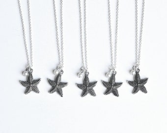 Set of Bridesmaid Beach Necklaces- Star Fish and Pearl Wedding Jewelry- Bridal Party Gifts, Discount set, Custom- 925 sterling silver