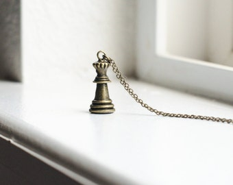 Queen Chess Piece Necklace- Chess Board Charm- Bronze Jewelry - Last Minute Gift Ideas- Ready to Ship - Brown Bronze Gold