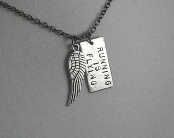 RUNNING IS FLYING Necklace - Running Necklace on Gunmetal chain - Running Jewelry - Running Necklace - Road Race - I Can Fly - Runners Fly