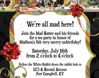 Tim Burton's Alice in Wonderland Custom Birthday / Sweet Sixteen Invitation - Digital File, You Print OR I Print