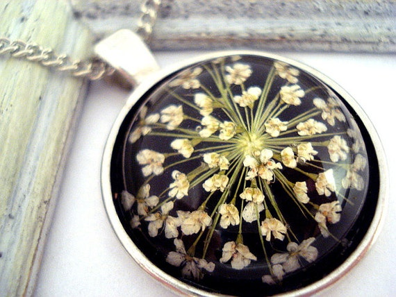 Necklace with real dried flowers in glass,  silver setting and necklace - spring jewelry for her