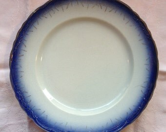 Antique Flow Blue 9 inch China Plate Gold Rim and Decoration NEW PRICE