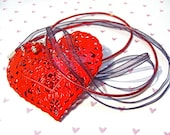 Valentine's Red Filigree Heart Necklace with Crystals