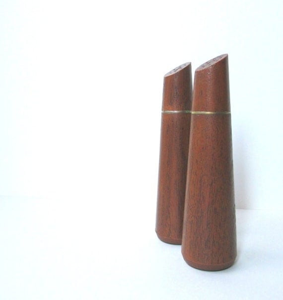Mid Century Modern Salt and Pepper Shakers, Danish Modern Housewares, Faux Bois Finish