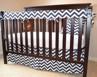 CUSTOM 4pc Crib Bedding Set -- 3pc Crib Teething Rail Guards and Crib Skirt