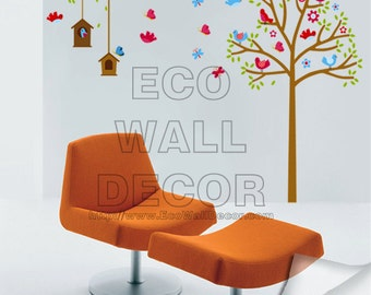 PEEL and STICK Removable Vinyl Wall Sticker Mural Decal Art - Bird Houses Garden