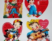 Valentine Retro Cards Gift Tags Set of 16 Scrapbook Valentine CutOuts Bookmarkers Party Favors Vintage Inspired RETRO COLLECTION SET 1