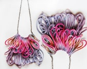 Candy - hand dyed fringe necklace/ mur Mur