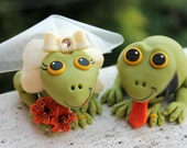 Frog cute wedding cake topper, with base and banner, tiger lily bouquet, burnt orange wedding