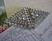 SALE Rhinestone Buckle Art DECO Vintage 40s Triangles for Wedding Gown Jeweled Belt Bridal Headpiece Sew On 2 Piece Retro Boho Bride