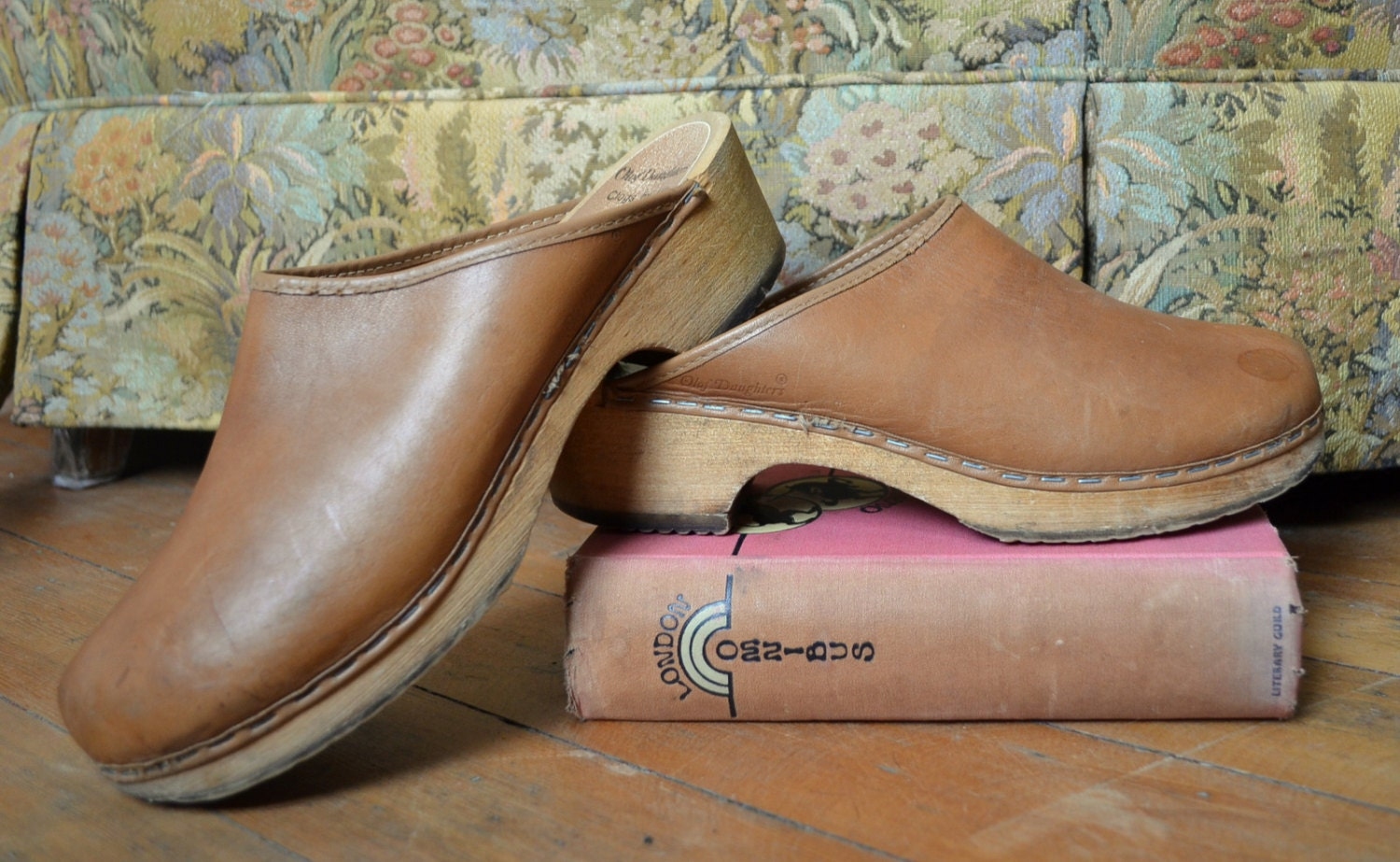 70s Olaf Daughters Of Finland Leather Clogs Size 39