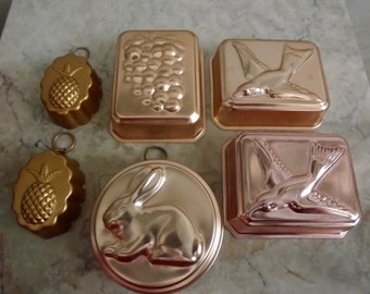 Instant collection, six vintage metal molds, gelatin, desert, swallow, bird, rabbit, grapes, pineapples, kitchen decor, cottage chic, Nevco