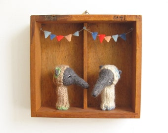 Wall Art, a Vintage Shadow Box with Felted ANTEATER FINGER PUPPETS, Nursery or Children's Room Decor, Eco Friendly Toy, Wall Hanging