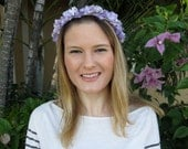 Lavender Purple Silk Flower Wreath Headband, for weddings, parties, bridesmaid, special occasions