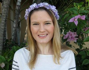 Lavender Purple Silk Flower Wreath Headband, for weddings, parties, bridesmaid, special occasions