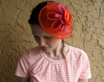 Red Satin Flower Feather Bow Sinamay Fascinator Hat with Veil and Black Beaded Headband, for weddings, parties, cocktail, special occasions