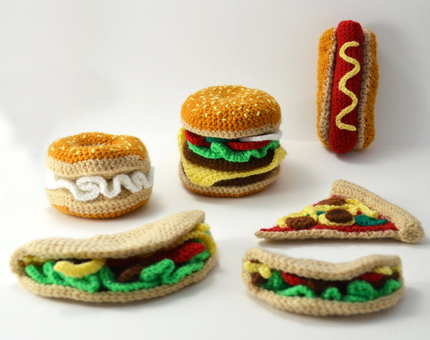 Amigurumi Fast Food : Fast Food Crochet Pattern Set Fast Food Amigurumi Crochet