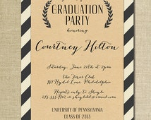 Kraft Graduation Invitation Script Black & Off White Striped Modern Ceremony Celebration FREE PRIORITY SHIPPING or DiY Printable - Courtney