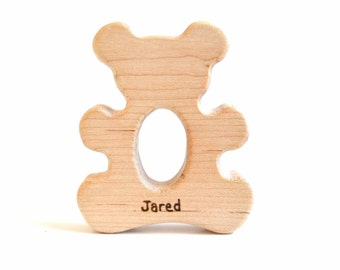 Personalized Organic Baby Teething Toy - Teddy Bear Baby Teether - Natural Wooden Baby Toy
