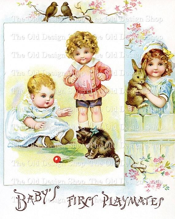 Baby Children Pets Vintage Printable Clip Art Digital Download JPG Image
