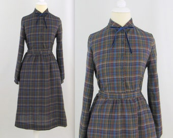 Sale Vintage 1970s Preppy Shirt Dress in Blue Plaid - xSmall by St.Michael