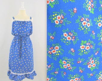 Sale Spring Bouquet Sundress - Vintage 1980s Cotton Summer Dress in Royal Blue Floral - Medium Large by Sears