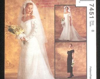 McCall's 7451 Bridal Dress Misses' Size 8 UNCUT