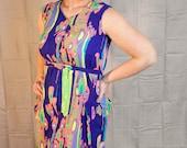 Randy My Ripples 1960s Vintage Handmade Psychedelic Technocolor Sleeveless Wiggle Shift Dress Sz Medium / Large / 8 / 10