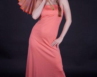 Sunny Side Of Salmon 1970s Vintage Handmade Coral Maxi Dress With Spaghetti Straps Sz Medium