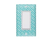 SALE Aqua Greek Key Geometric Room Decor / Rocker Decora Light Switch Plate Cover / Nursery Bedroom Dining Room / Gender Neutral