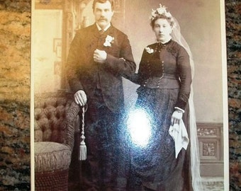 Vintage Cabinet Card Photograph Victorian Bride and Groom Wedding Portrait 6 1/2 x 4 1/4