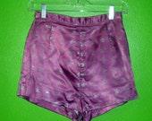 Purple Vintage 70s Superhero Silver Star Satin High Waisted Short Shorts Extra Extra Small/Extra Small