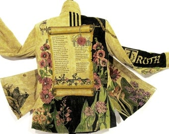 Hand Painted Jacket - Suede Botanical Christian Medium
