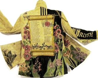 Hand Painted Jacket - Suede Botanical Christian Medium