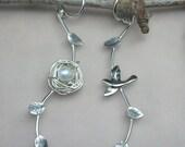 Bird and nest earrings - mismatched earrings- asymmetric earrings- sterling silver vine earrings - woodland jewelry - mother's gift