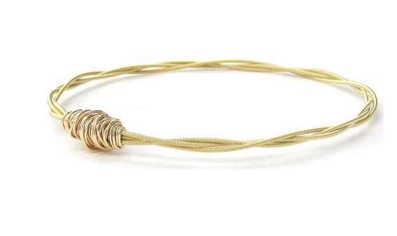 Thin Gold Bangle Bracelet // Guitar String Jewelry // Bridesmaid Gift // Eco-Friendly Jewelry // Friendship Bracelet // Music Sister Gift