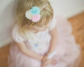 Candy Pink Mint and Cream Pretty Pastel Headband, 3 Flower Shabby Chic, Baby Toddler Infant, Frayed petite Flowers