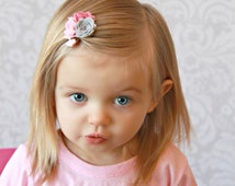 Pink Grey Trio Felt Hair Clip -  Flower - Pink Mini Felt Hair Clip - Baby Hair Clip