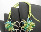 Lime Green, Teal and Green AB seed bead Daisy with a Metal Daisy Bracelet