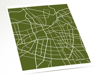 Santiago City Map Artwork / Chile Map Print / 8x10 / Personalized colors
