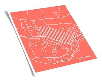 Santa Barbara Map Art City Print / UCSB Grad Gift Poster Wall Art / 8x10 City Map / Personalized colors