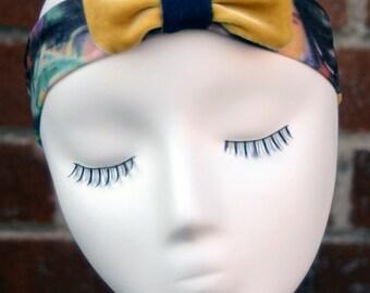 Graffiti Print with Yellow Velvet Boba Bow Headband