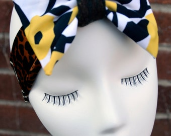 Mix Match Cheetah with Big Yellow & Black Flowers Boba Bow Headband