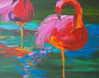 Two Pink Flamingos on Lake Painting - Balancing Act (Acrylics on Canvas) - Kim.T 2013