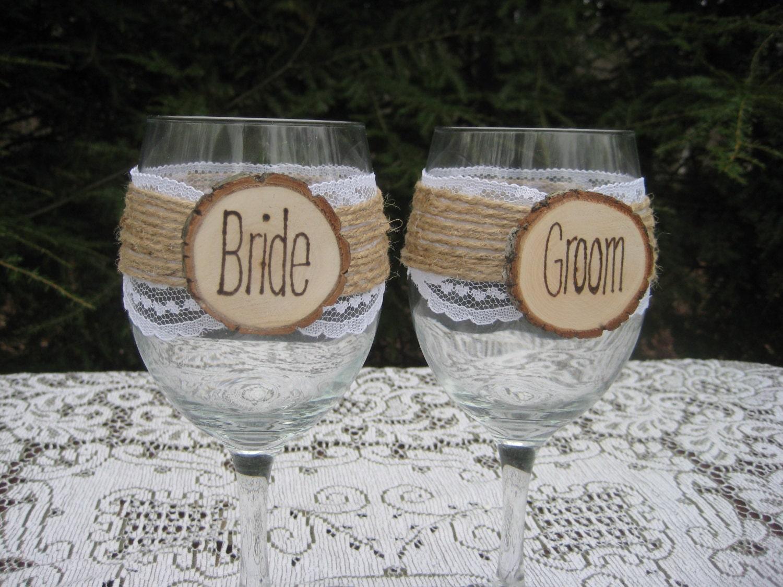 Wedding wine glasses bride and groom glasses rustic wine for How to make wedding wine glasses