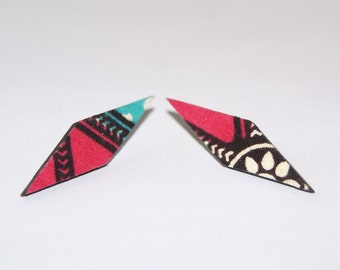 Stud  Fabric Covered Wood Earrings- Pink