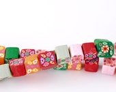 Clay Cube Beads Assorted Flower Pattern - 5-7mm - 1 Strand - Ships Immediately from California - B558