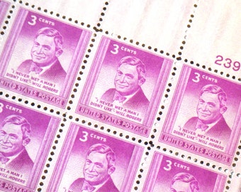 "US Postage Stamp Will Rogers ""I Never Met A Man..."" 3c, Scott 975 full sheet unused, 1948 MNH, collectible ephemera, mens holiday gift SALE"