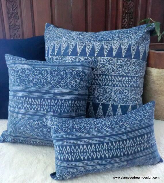 Decorative Pillows Indigo : 20 Hmong Natural Indigo Batik Decorative Pillow Cushion
